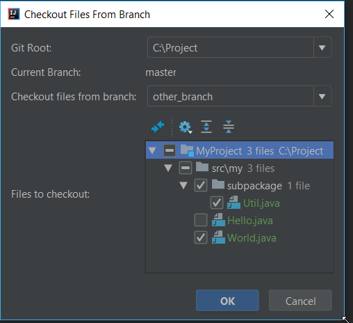 git checkout from another branch