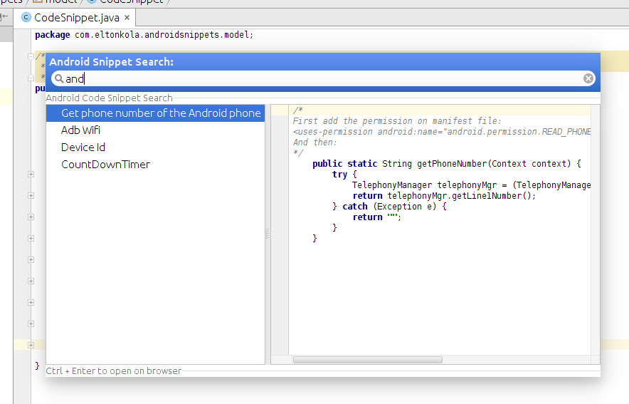 Android Snippets Search - Plugins | JetBrains